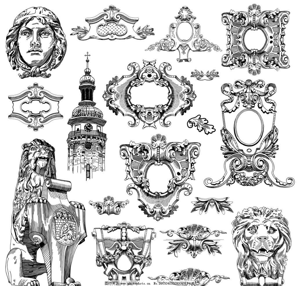 雕塑 守护神 城市雕塑 欧式花纹 建筑花纹 手绘 矢量 eps 设计 环境