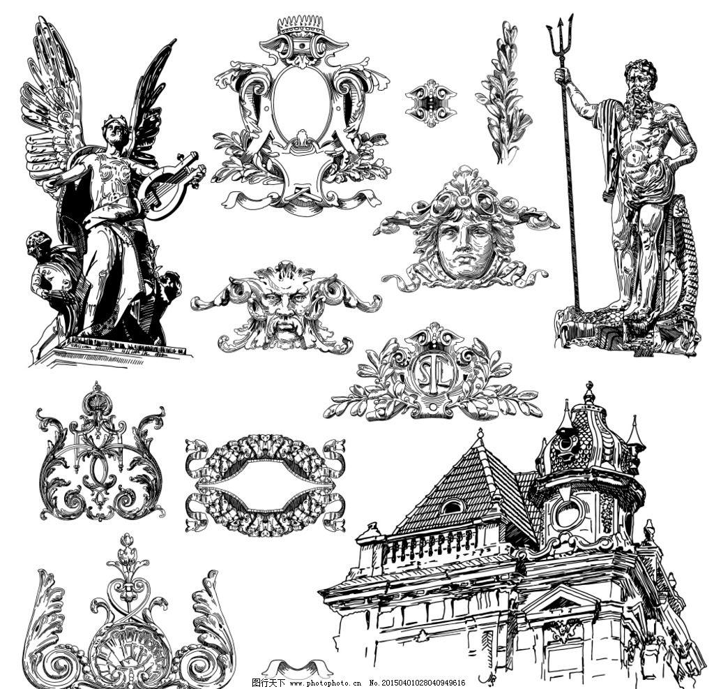 城市雕塑 欧式花纹图片