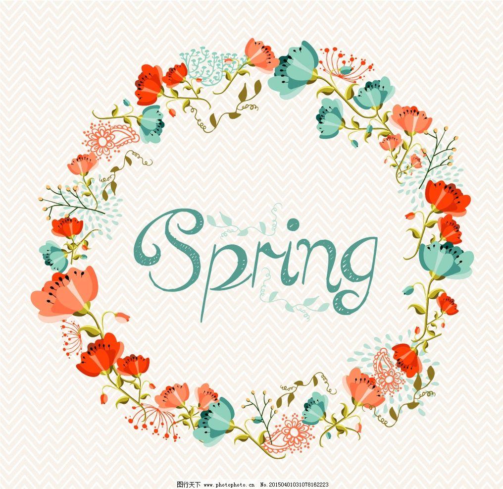 eps格式 花朵 红花 花环 春天 背景 矢量图 设计 广告设计 其他 eps