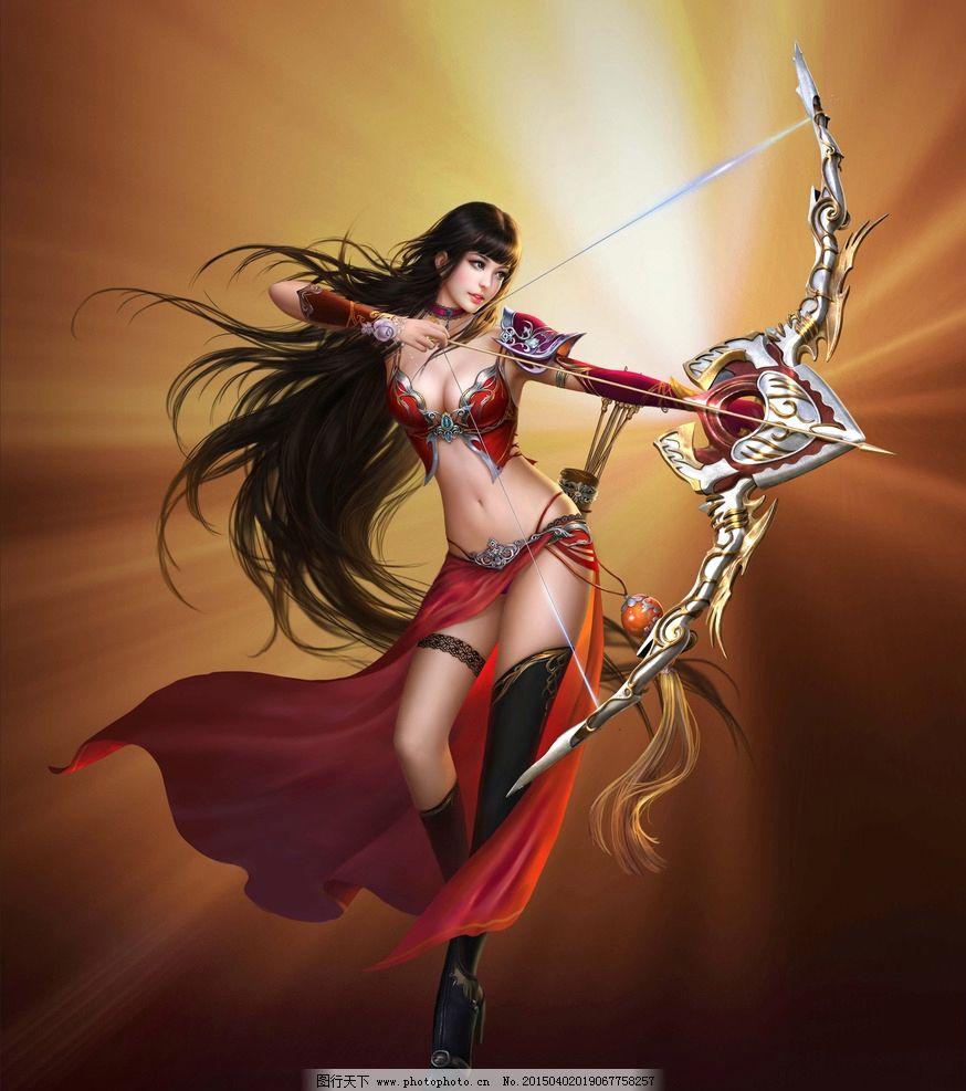 美女弓箭手 手绘美女 板绘 数字绘画 唯美 女神 游戏美女 艺术