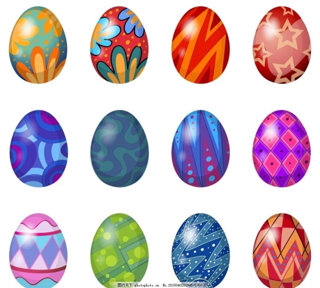 复活节 手绘 鸡蛋 彩蛋 卡通 节日素材 复活节背景 矢量