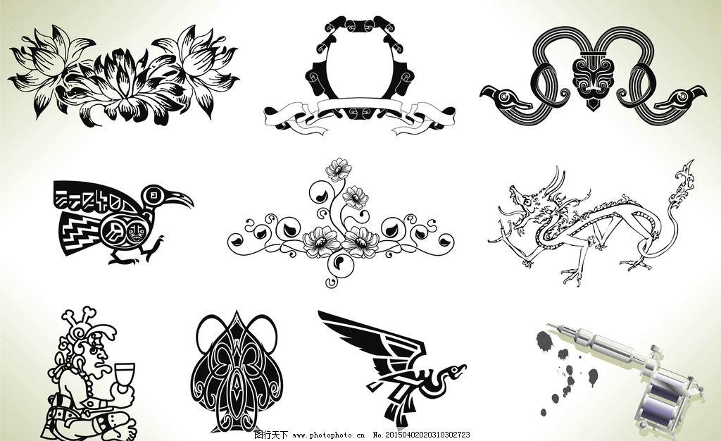 纹身 手绘 图腾 龙 丝带横幅