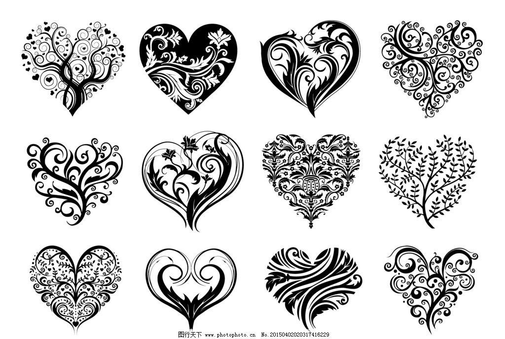 纹身 手绘 图腾 花纹 爱心