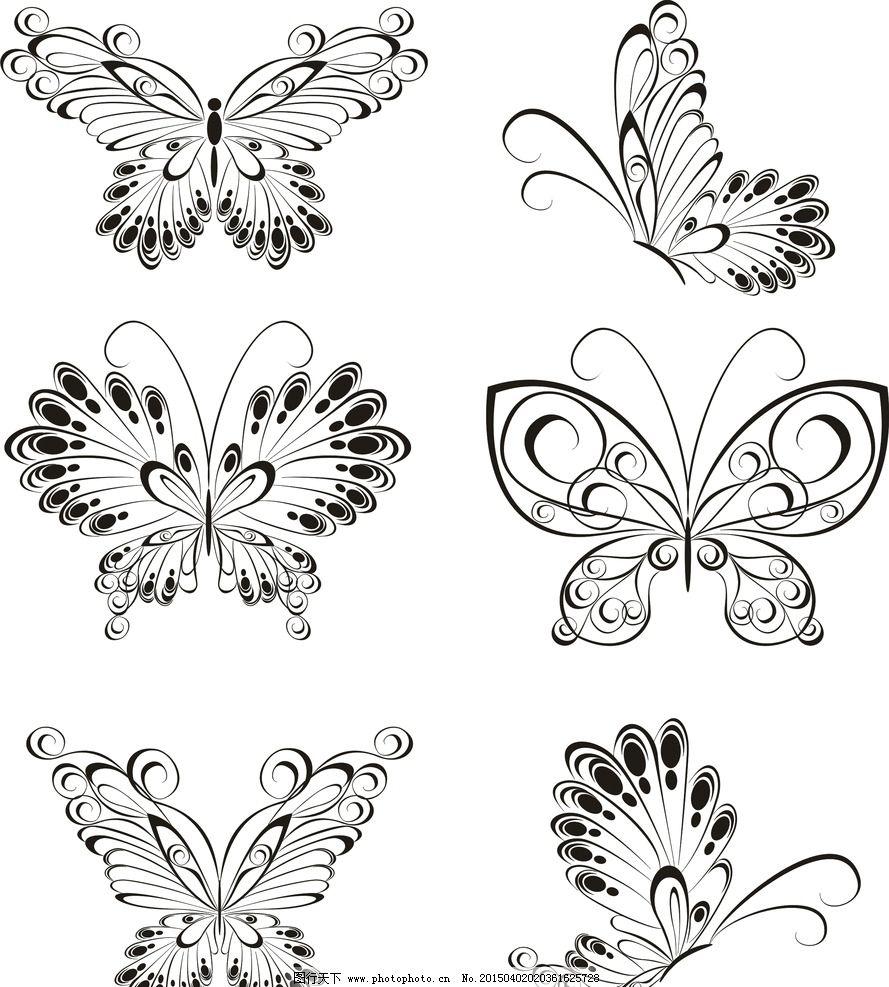 纹身 手绘 蝴蝶 花纹 纹样 花边 纹身图案 设计 矢量 eps 设计 底纹