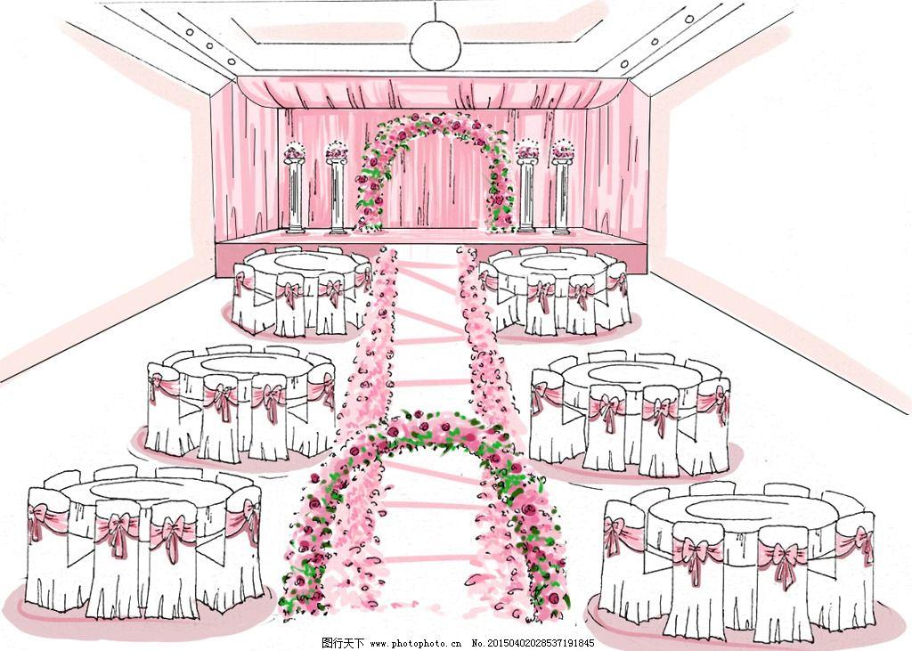 粉色 手绘效果图 婚礼手绘 婚礼设计        设计 环境设计        7