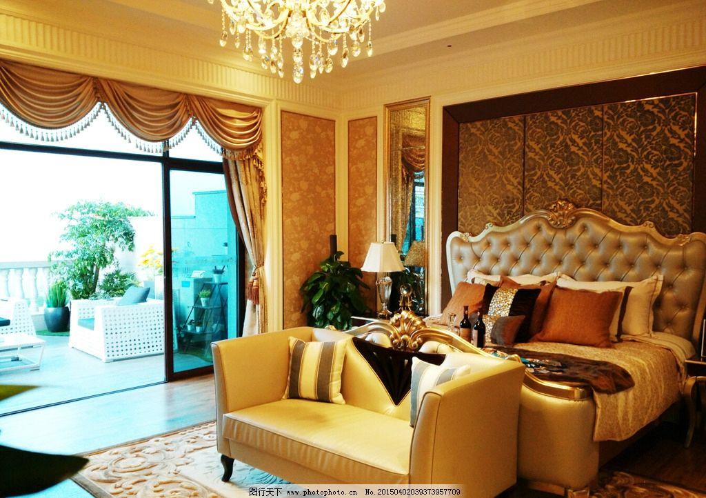 奢华别墅内部包装 装修 豪华 暖色风格 卧室 大床 欧式装修 样板房图片