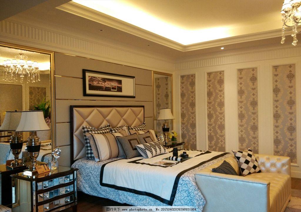 豪华别墅内部装修风格 奢华 暖色风格 卧室 大床 欧式装修 样板房