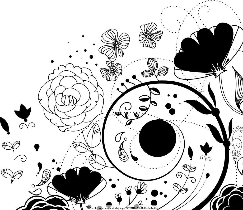 花纹 底纹 花朵 黑白花纹 线条 设计 底纹边框 花边花纹 300dpi jpg