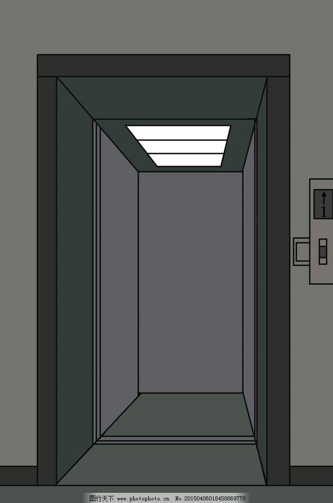 手绘开着门的电梯图片