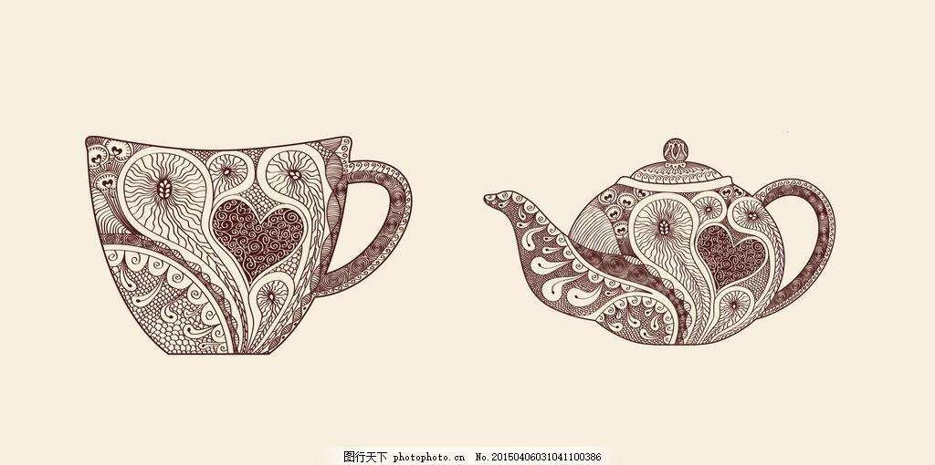 矢量手绘咖啡杯茶壶