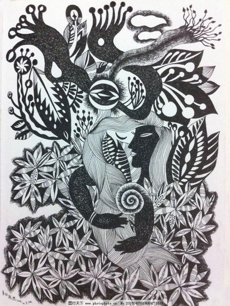 黑白画 黑白艺术 装饰绘画 装饰艺术 春天 设计 文化艺术 绘画书法 72-