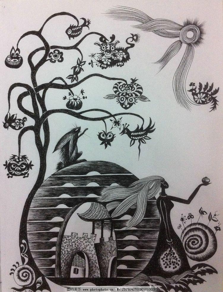黑白画 黑白艺术 装饰绘画 装饰艺术 陕西花馍 设计 文化艺术 绘画
