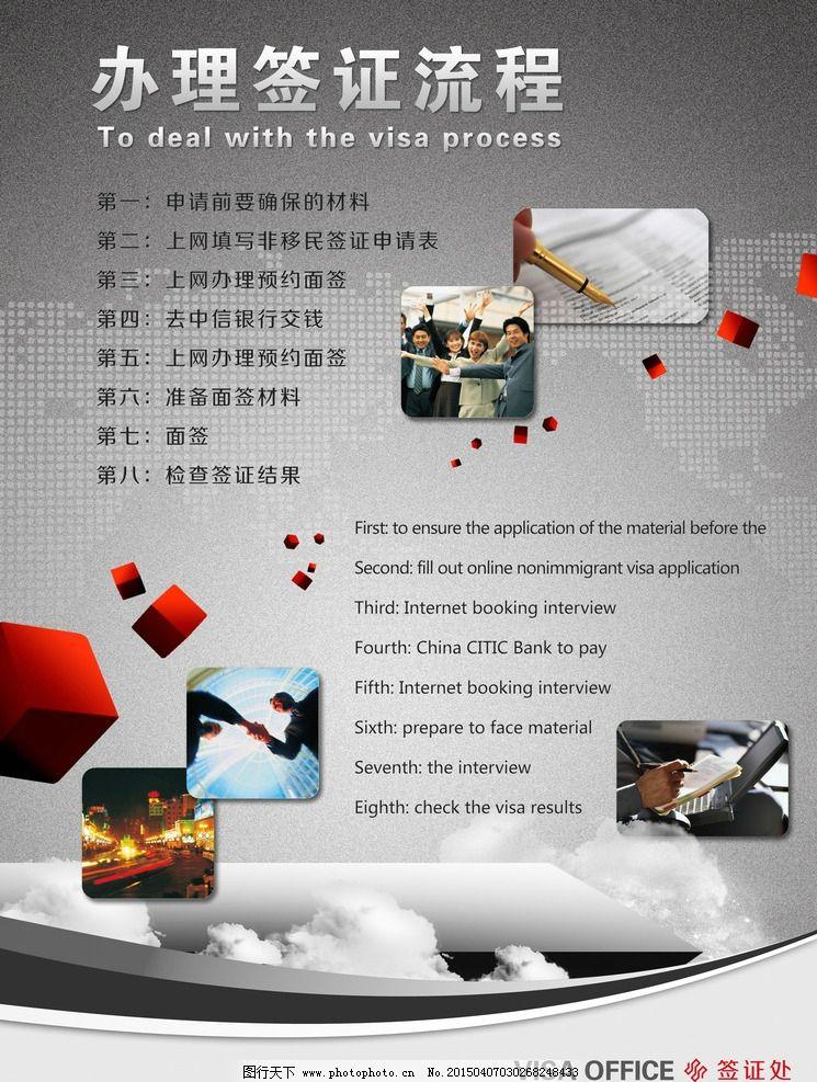 出国 签证 流程 展板 留学  设计 广告设计 展板模板 100dpi psd