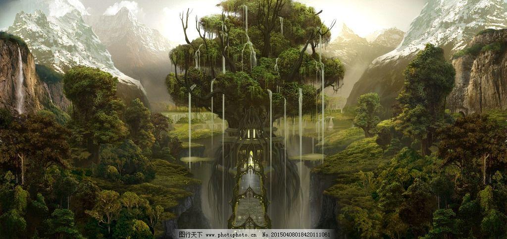 卡通 手绘 动漫 科幻 创意 想象 梦幻 场景 大树 雨 森林 创意图 设计