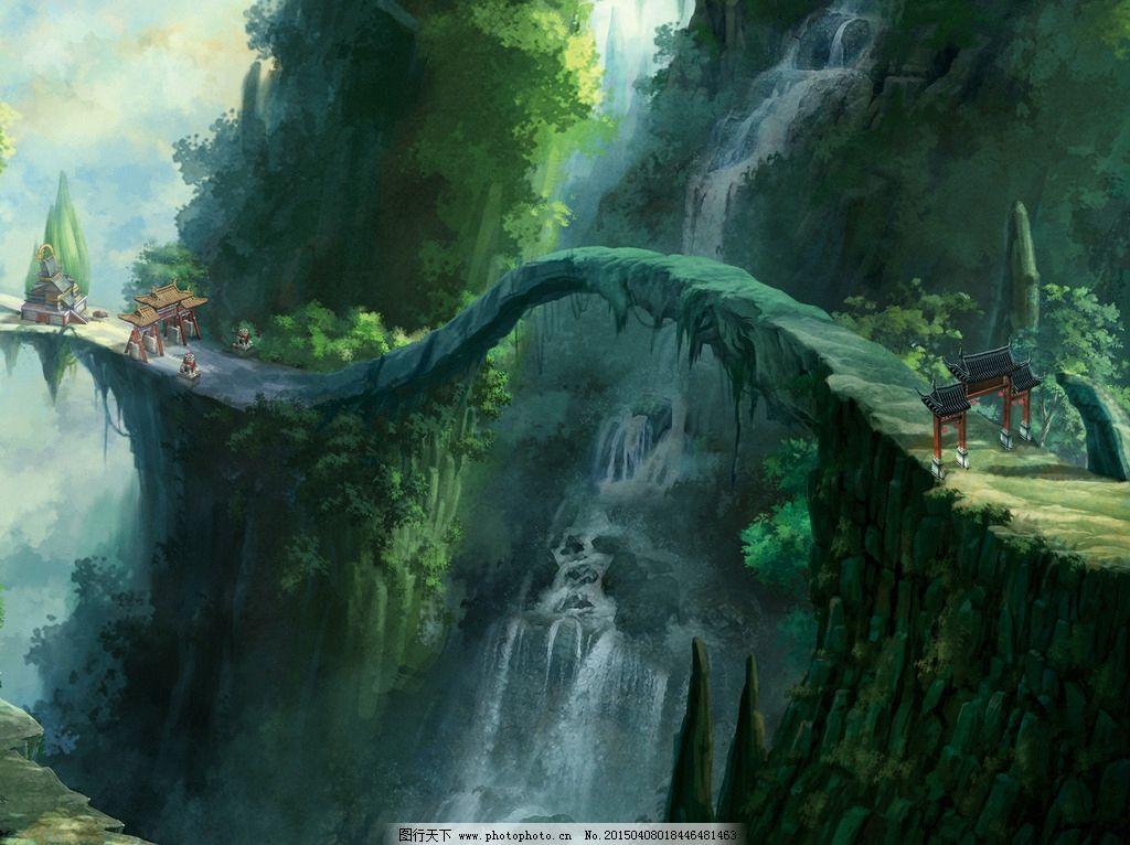 卡通 手绘 动漫 科幻 创意 想象 梦幻 场景 桥 创意图 设计 动漫动画
