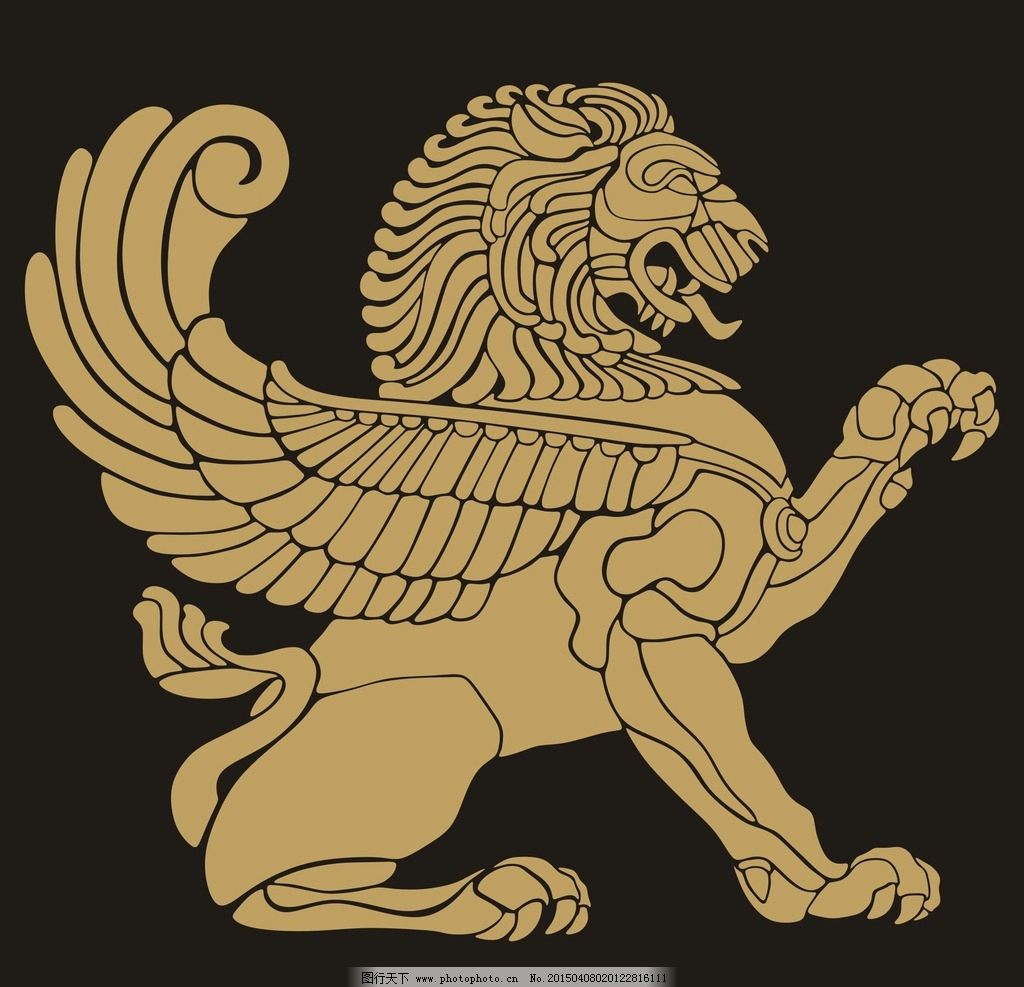 霸狮子黑白手绘