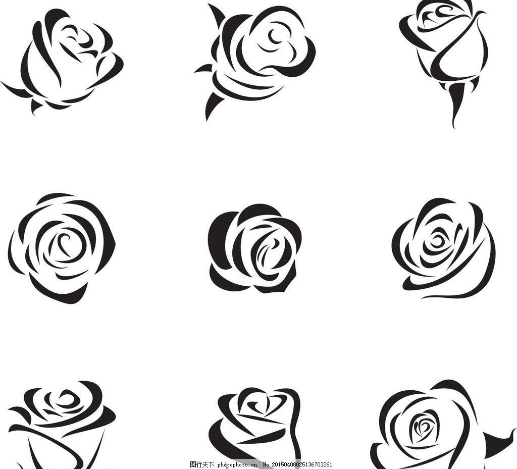 手绘玫瑰花 卡通花 矢量素材 ai 花朵 花卉 花 鲜花 卡通 插画 植物