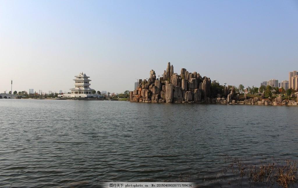 名人雕塑园湖景 抚州 临川 三元楼 江西抚州景区 摄影 建筑园林