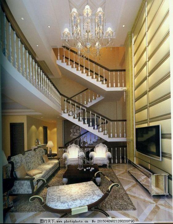 欧式别墅客厅_室内模型