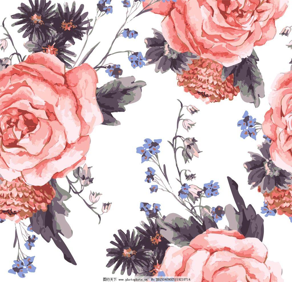 手绘花卉 花朵 鲜花 花卉插图 玫瑰花 水墨花草 小鸟 设计 矢量 eps