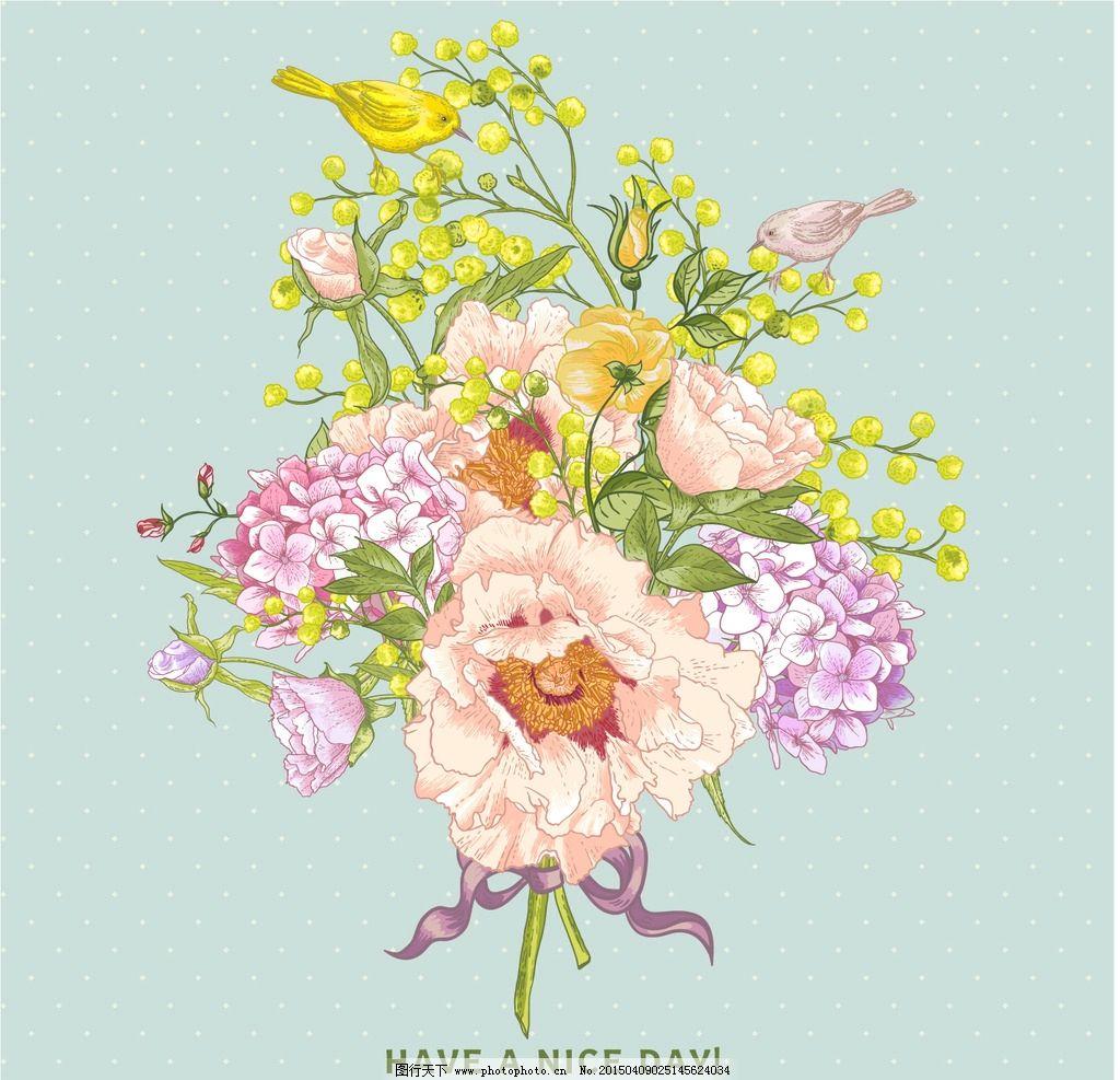 手绘花卉 花朵 鲜花 花卉插图 玫瑰花 丁香花 手绘 水彩花草 小鸟