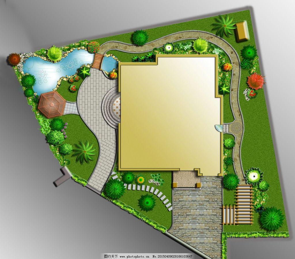 绿化平面图设计图片,游泳池 草地 树木 鲜花 房屋-图