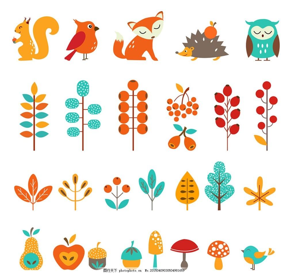秋天森林动物植物设计元素