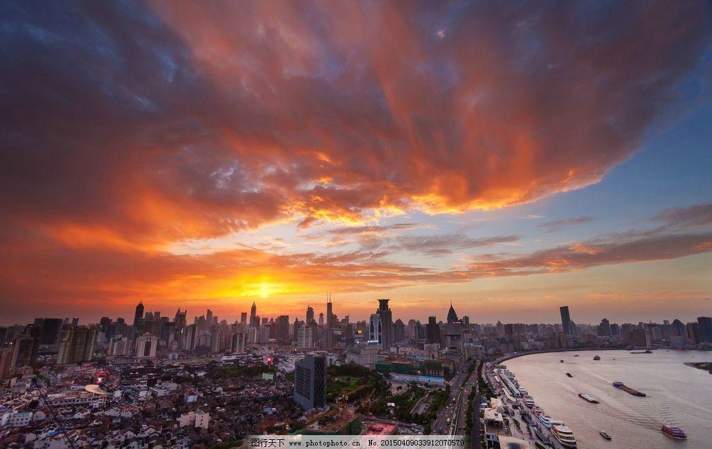 上海风景 城市 建筑 傍晚 天空 摄影 国内旅游