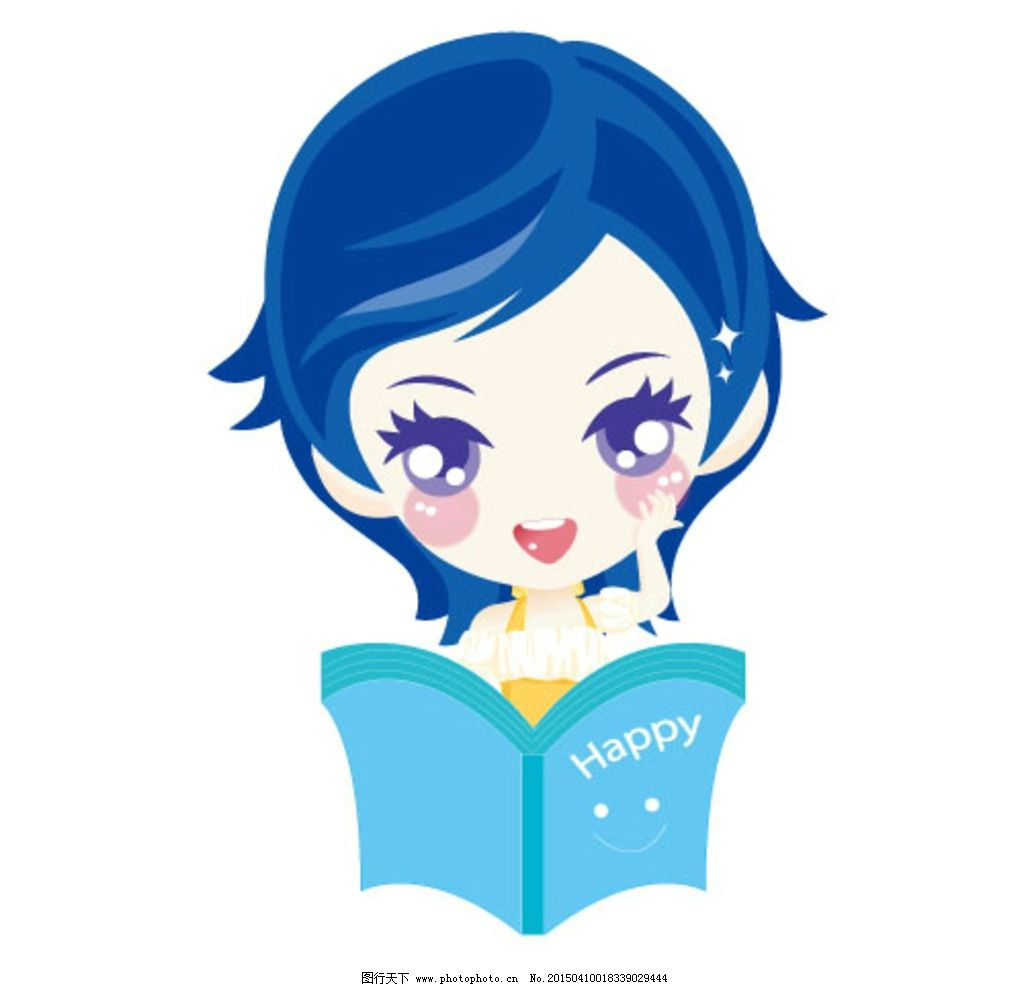 卡通女孩 读书女孩 少女 小清新 蓝色 卡通 设计 动漫动画 动漫人物