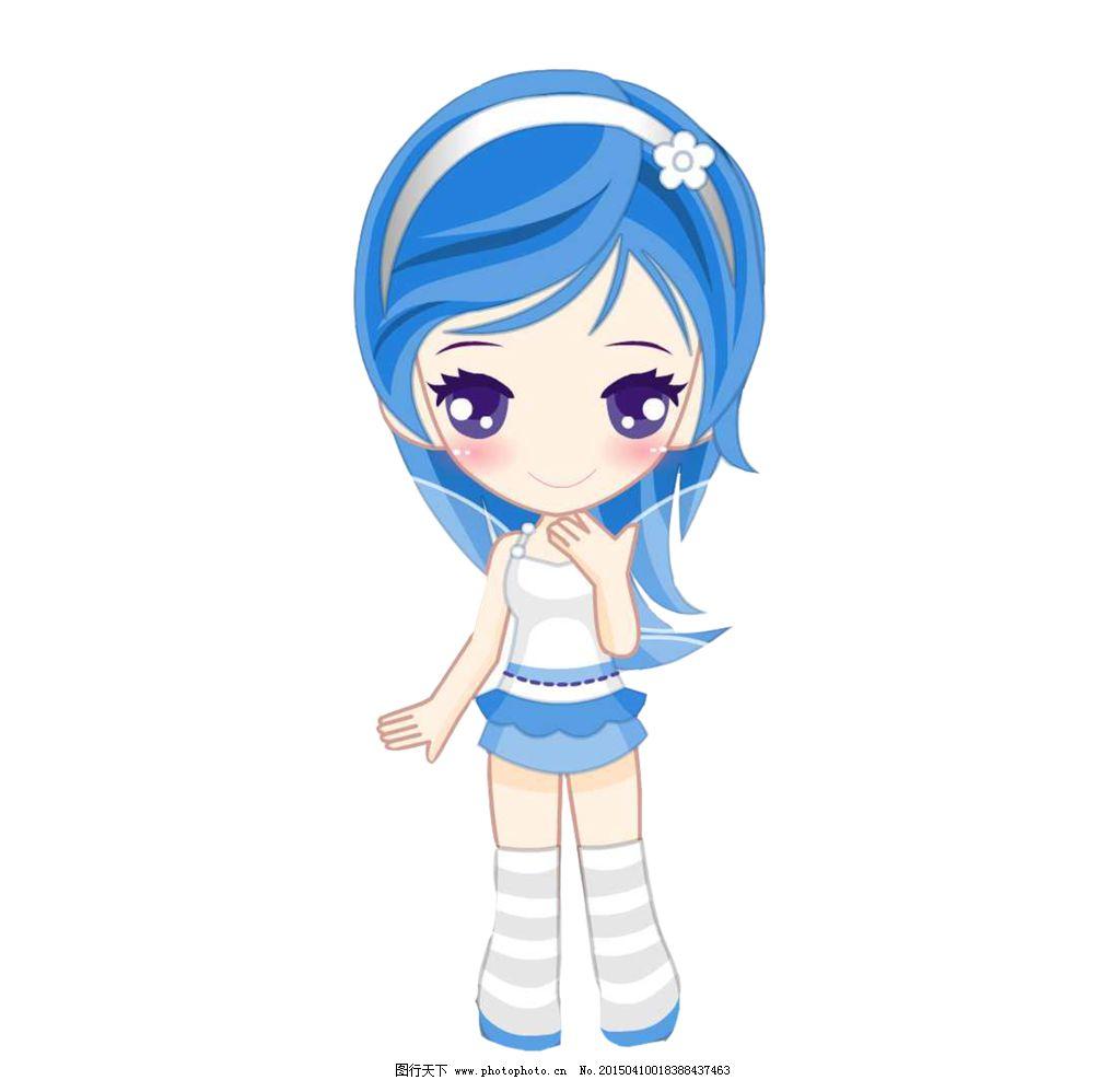 卡通女孩 蓝发女孩 可爱女孩 可爱少女 设计 动漫动画 动漫人物 236