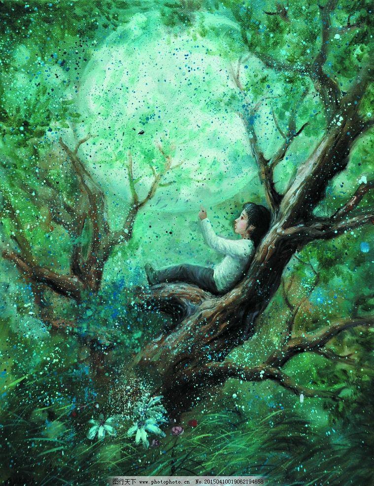 美术 油画 森林 树木 女孩 少女 花草 月亮 油画作品80 设计 文化艺术