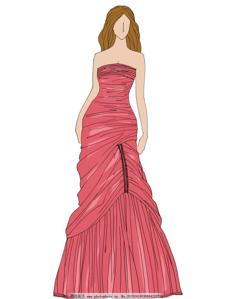 时装画手绘图女短裙