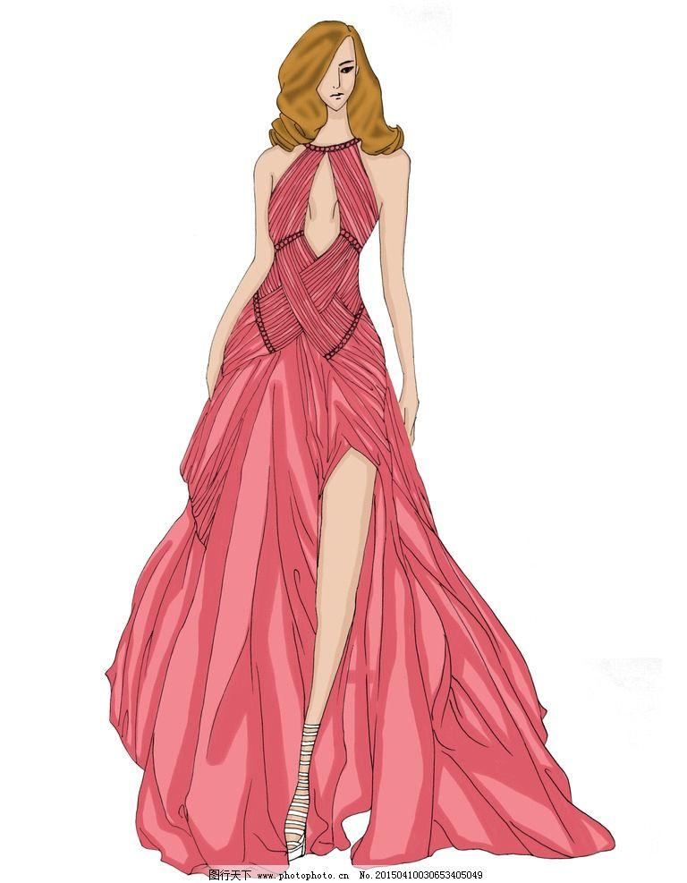 女装设计 电脑绘图 服装 手绘 线描 单线平涂 效果图 软件作图