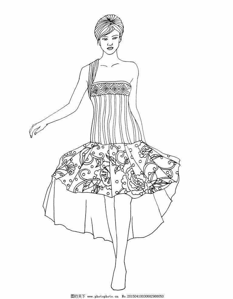 手绘 线描 服装设计 线描稿 原创 服装线描图 设计 文化艺术 绘画书法