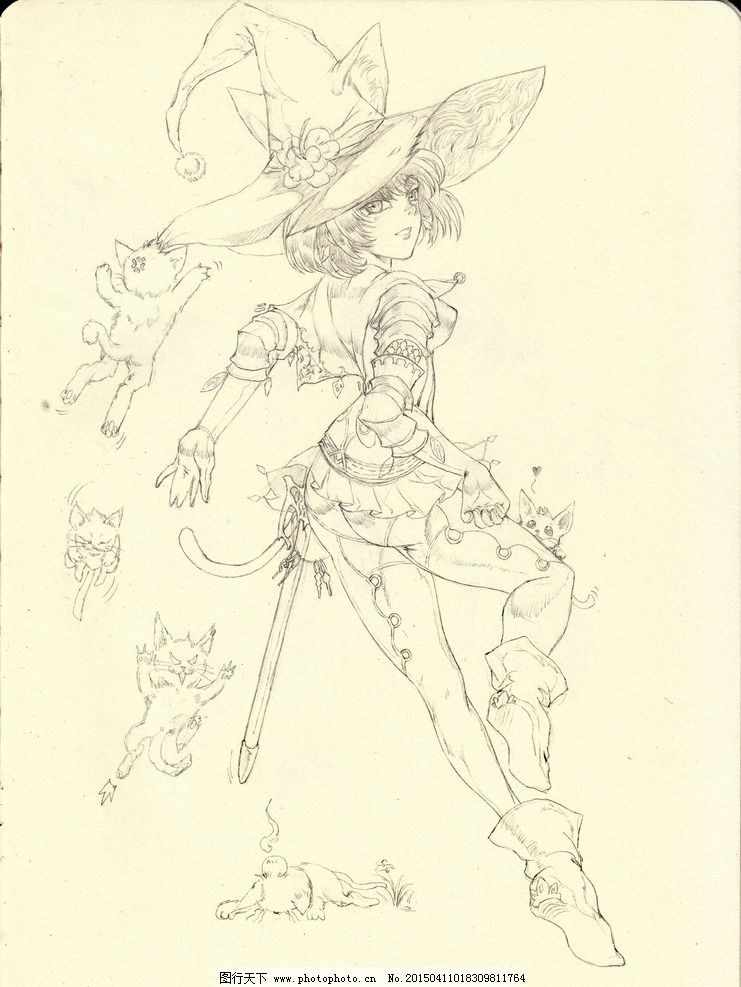 铅笔 手绘 线稿 猫儿剑士图片