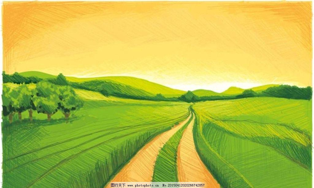 手绘绿色田野图片