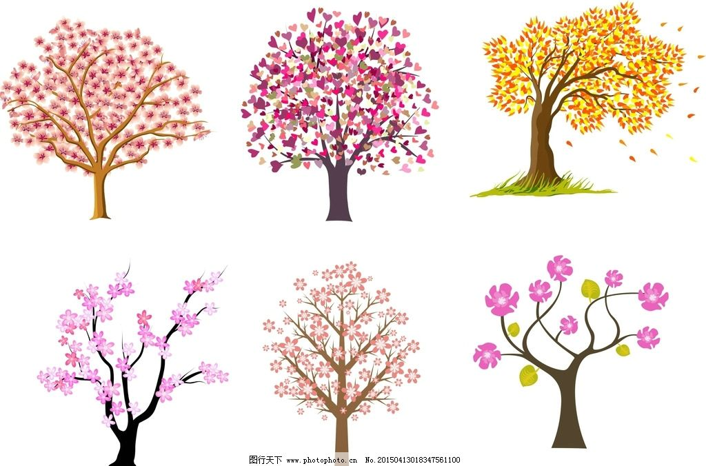 手绘花朵树木 韩国插画背景 淡雅 背景素材 绿色 清新 卡通画