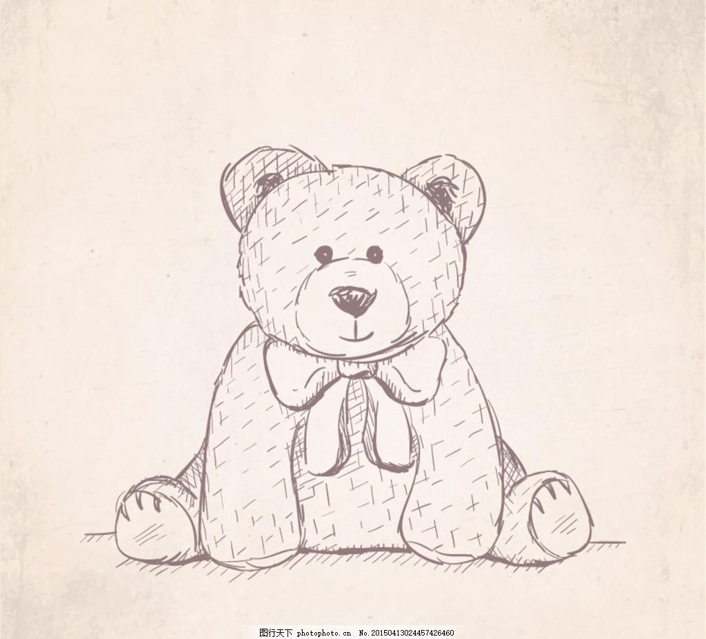 手绘憨厚泰迪熊矢量素材 小熊 动物 玩具 毛绒 卡通 蝴蝶结 插画
