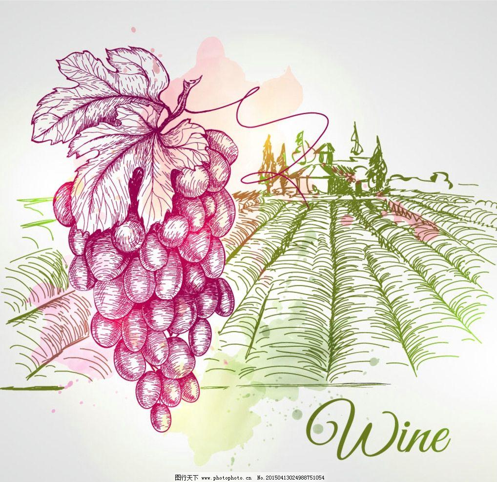 手绘葡萄酒庄园图片