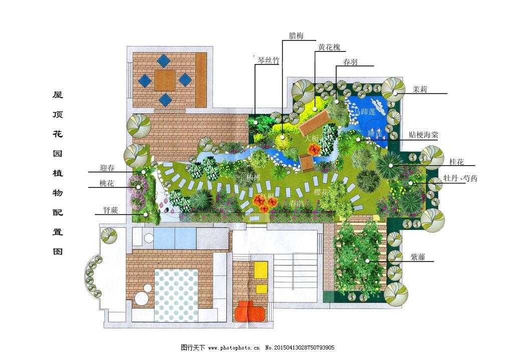 花园 花园布置 屋顶花园 植物布置 绿化布置 彩平 环境平面图