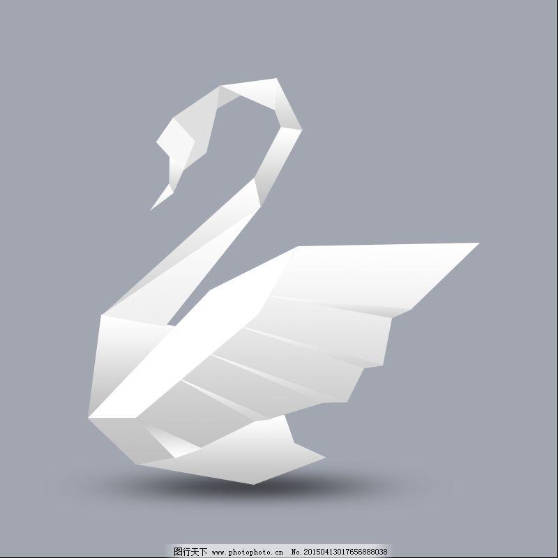折纸纸鹤矢量图