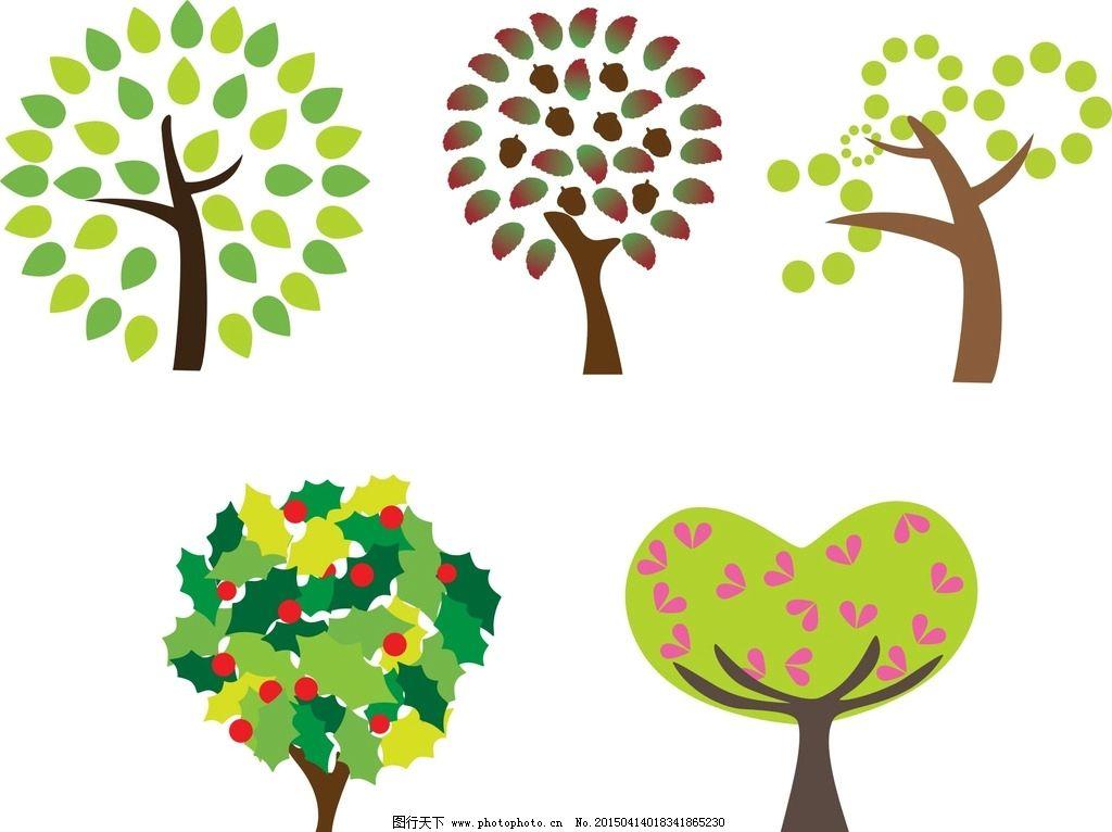 心形树木 圆形图片_动漫人物_动漫卡通_图行天下图库