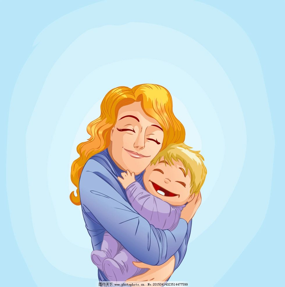 母子 儿童 卡通儿童 手绘