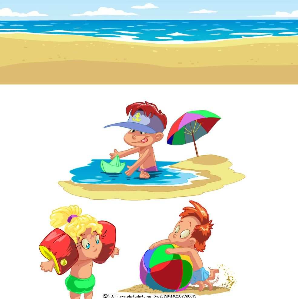儿童 小学生 卡通儿童 手绘 海滩 男孩 卡通插画 快乐儿童 儿童绘画