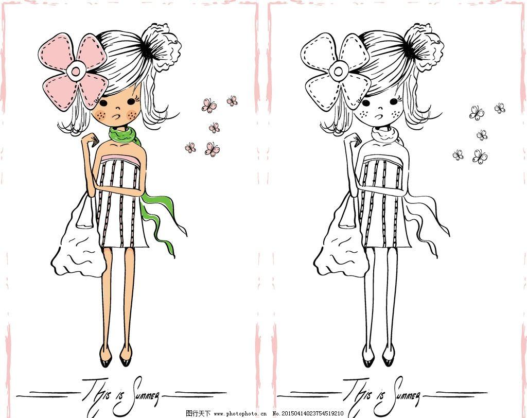 少女 小女孩 手绘 动漫人物 插画人物 卡通插图 女性 时尚女性