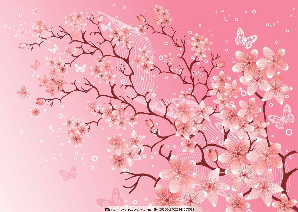 樱花图片,手绘桃花 花卉 蝴蝶 唯美 鲜花 花草背景-图