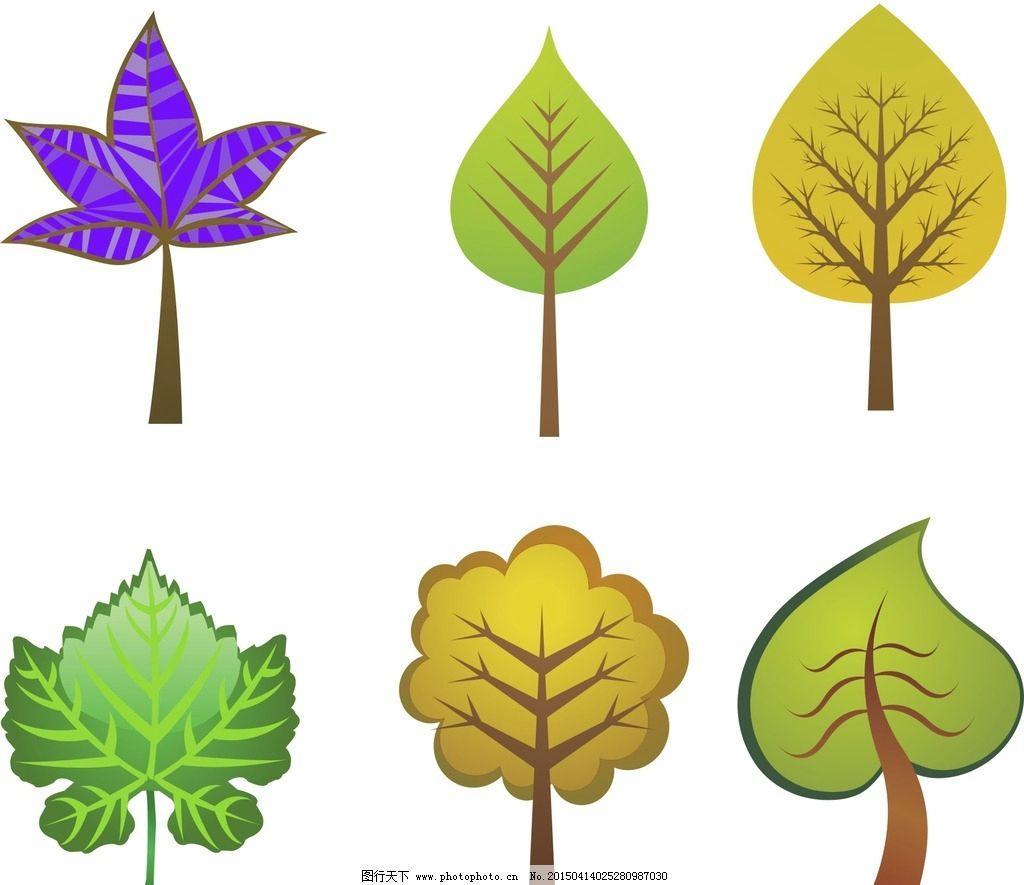 卡通树木素材 梦幻树木素材 绿色 手绘 插画 手绘插画 树叶 手绘树叶