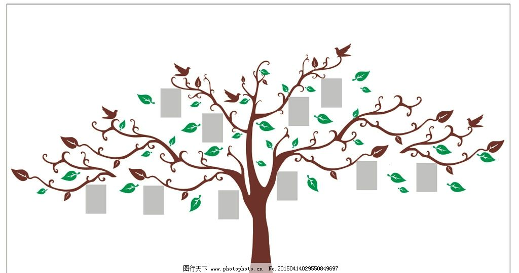 照片树 矢量树 贴墙树 墙贴 树 鸟 a4照片 叶子 树叶  设计 广告设计