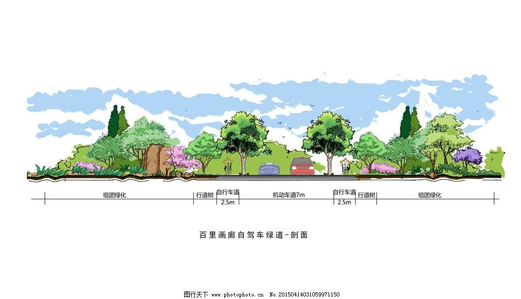 道路绿道手绘效果立面图图片