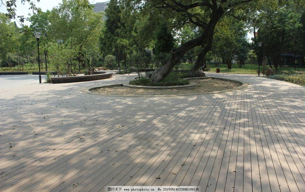 木地板 户外 大树 沙坑 景观 摄影 旅游摄影 国内旅游 72dpi jpg